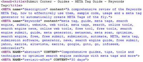HTML metatags