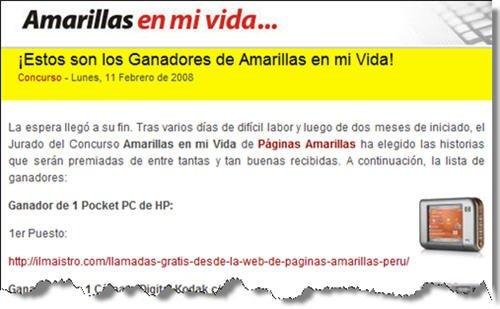 """ilmaistro.com - Ganador del concurso """"Amarillas en mi vida"""""""