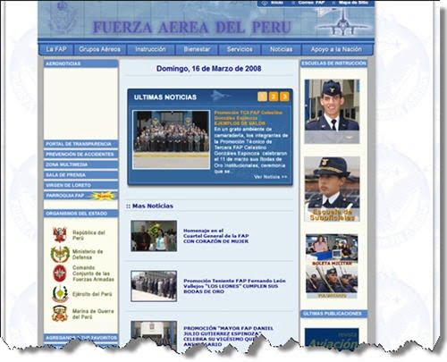 Web de la fuerza aerea peruana