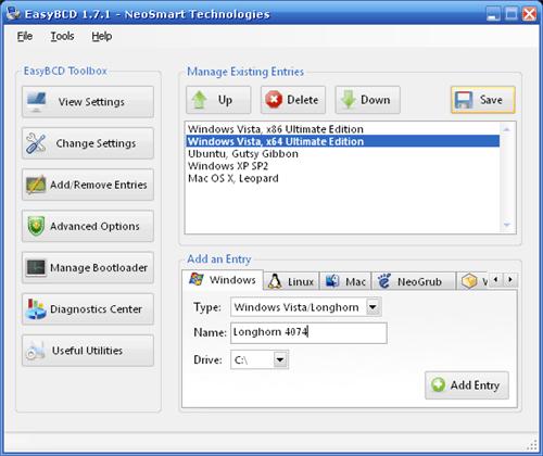 una aplicación como EasyBCD o VistaBootPro para agregar Windows XP ...