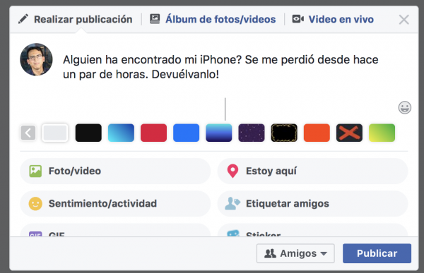 iphone perdido facebook